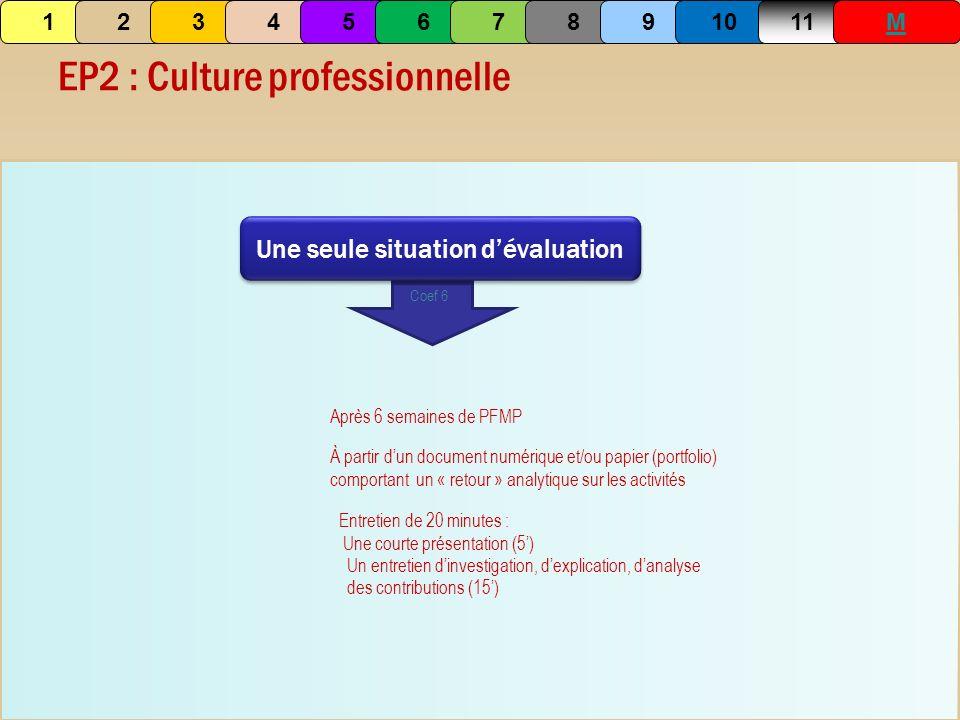 EP2 : Culture professionnelle Une seule situation dévaluation Coef 6 Après 6 semaines de PFMP Entretien de 20 minutes : Une courte présentation (5) Un
