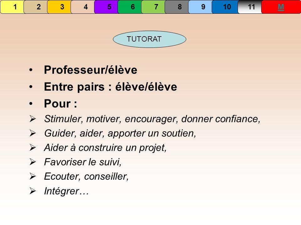 1234567891011M TUTORAT Professeur/élève Entre pairs : élève/élève Pour : Stimuler, motiver, encourager, donner confiance, Guider, aider, apporter un s