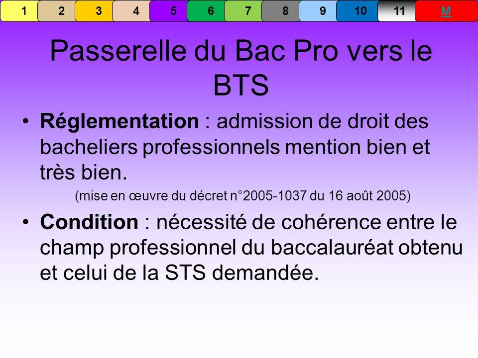 Passerelle du Bac Pro vers le BTS Réglementation : admission de droit des bacheliers professionnels mention bien et très bien. (mise en œuvre du décre