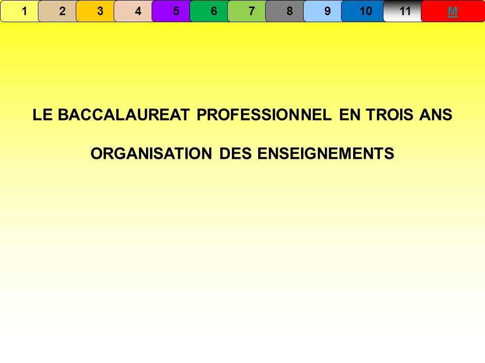 LE BACCALAUREAT PROFESSIONNEL EN TROIS ANS ORGANISATION DES ENSEIGNEMENTS 1234567891011M
