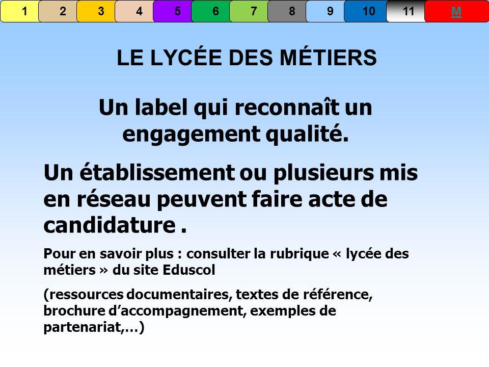 LE LYCÉE DES MÉTIERS Un label qui reconnaît un engagement qualité. Un établissement ou plusieurs mis en réseau peuvent faire acte de candidature. Pour