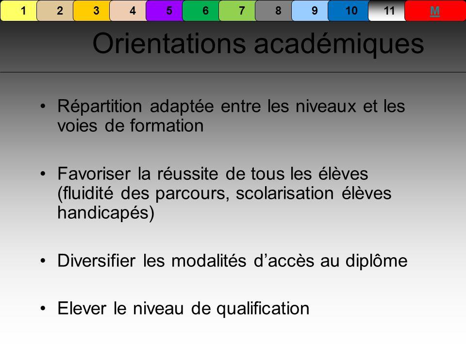 Orientations académiques Répartition adaptée entre les niveaux et les voies de formation Favoriser la réussite de tous les élèves (fluidité des parcou