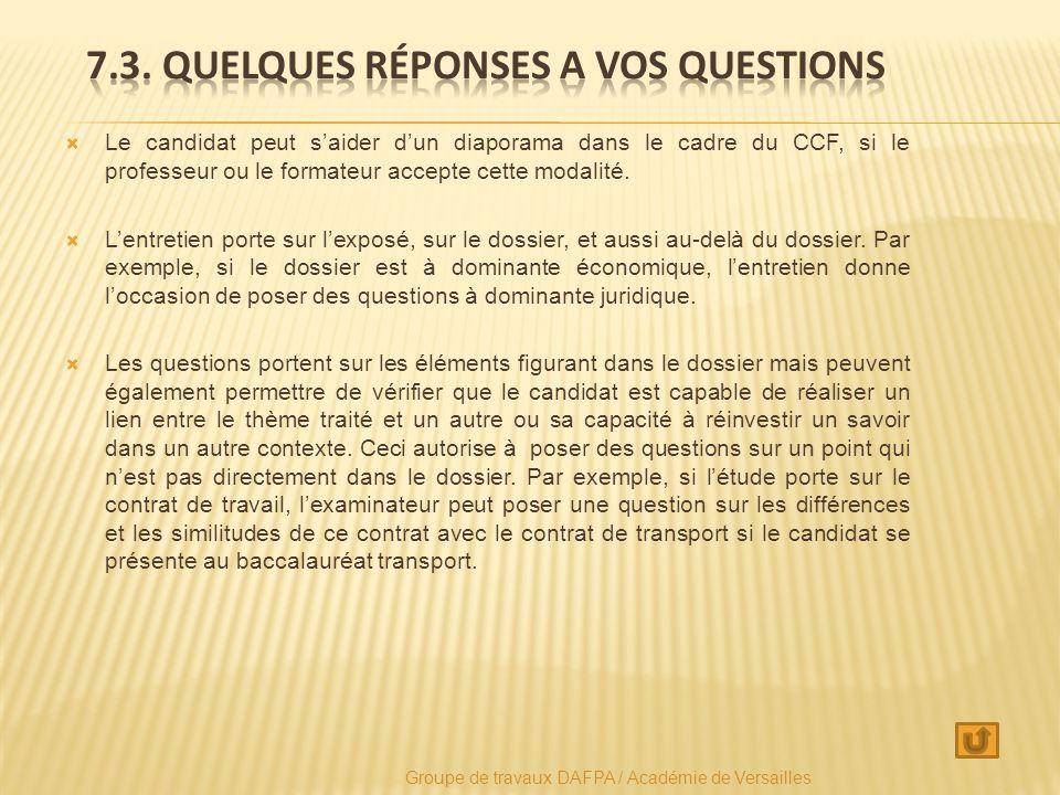 Le candidat peut saider dun diaporama dans le cadre du CCF, si le professeur ou le formateur accepte cette modalité.