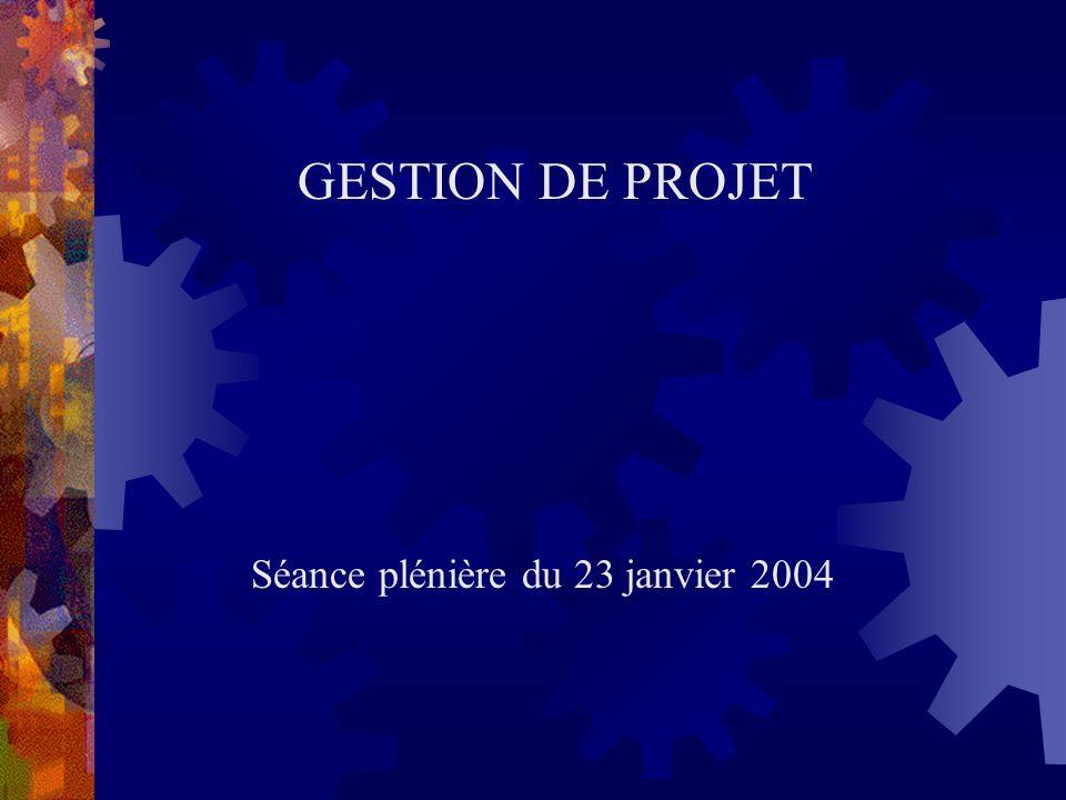 GESTION DE PROJET Séance plénière du 23 janvier 2004