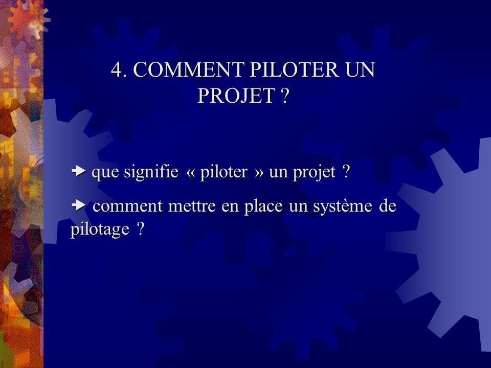 4. COMMENT PILOTER UN PROJET ? que signifie « piloter » un projet ? que signifie « piloter » un projet ? comment mettre en place un système de pilotag