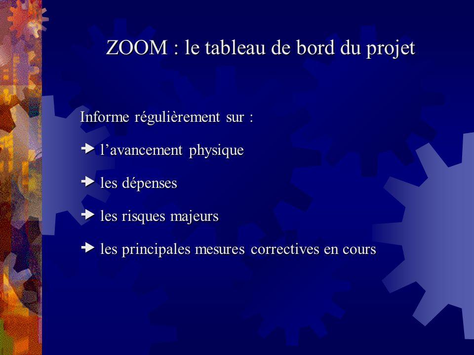 ZOOM : le tableau de bord du projet Informe régulièrement sur : lavancement physique lavancement physique les dépenses les dépenses les risques majeur