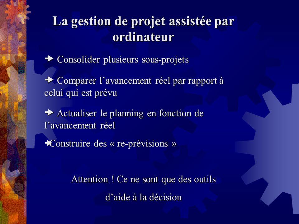 La gestion de projet assistée par ordinateur Consolider plusieurs sous-projets Consolider plusieurs sous-projets Comparer lavancement réel par rapport