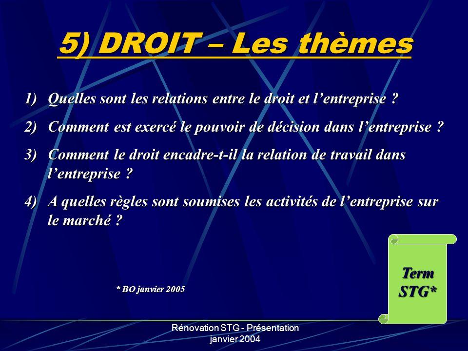 Rénovation STG - Présentation janvier 2004 5) DROIT – Les thèmes 1)Quelles sont les relations entre le droit et lentreprise ? 2)Comment est exercé le