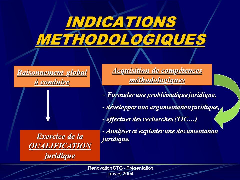 Rénovation STG - Présentation janvier 2004 INDICATIONS METHODOLOGIQUES Raisonnement global à conduire Acquisition de compétences méthodologiques Exerc