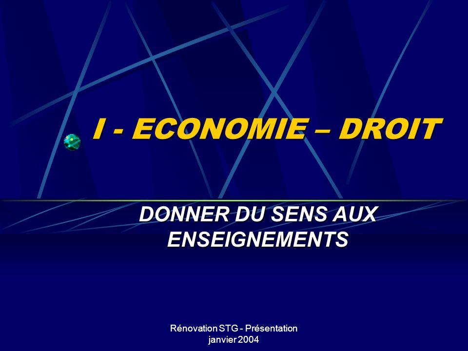 Rénovation STG - Présentation janvier 2004 I - ECONOMIE – DROIT DONNER DU SENS AUX ENSEIGNEMENTS