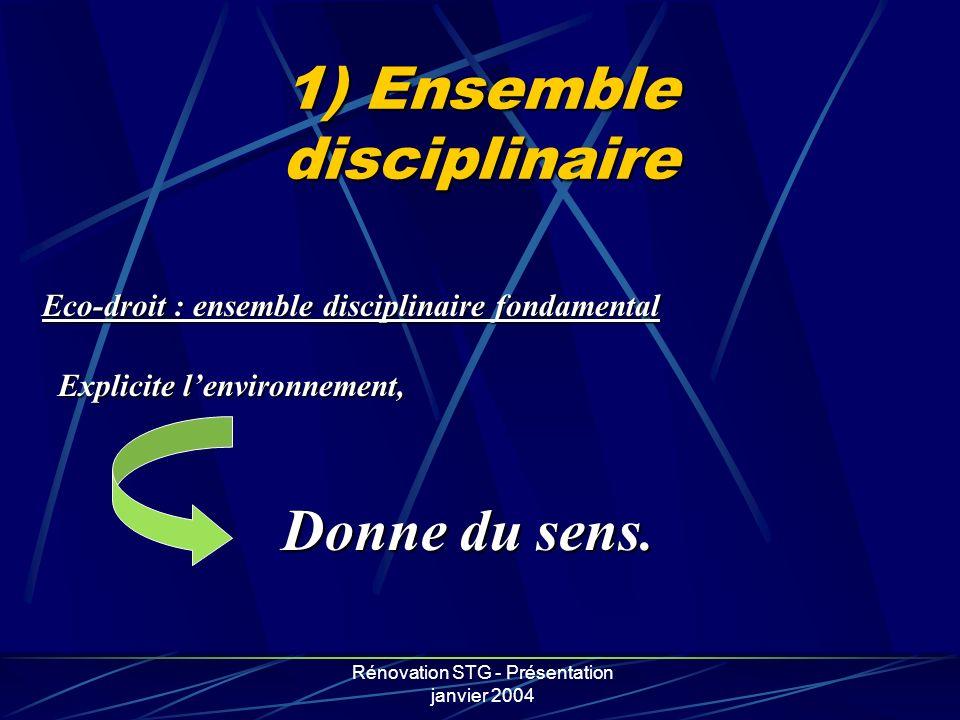 Rénovation STG - Présentation janvier 2004 1) Ensemble disciplinaire Eco-droit : ensemble disciplinaire fondamental Explicite lenvironnement, Donne du