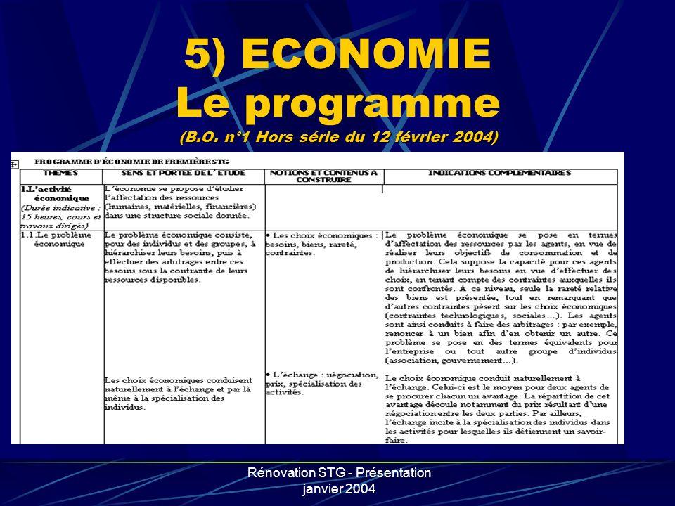 Rénovation STG - Présentation janvier 2004 (B.O. n°1 Hors série du 12 février 2004) 5) ECONOMIE Le programme (B.O. n°1 Hors série du 12 février 2004)