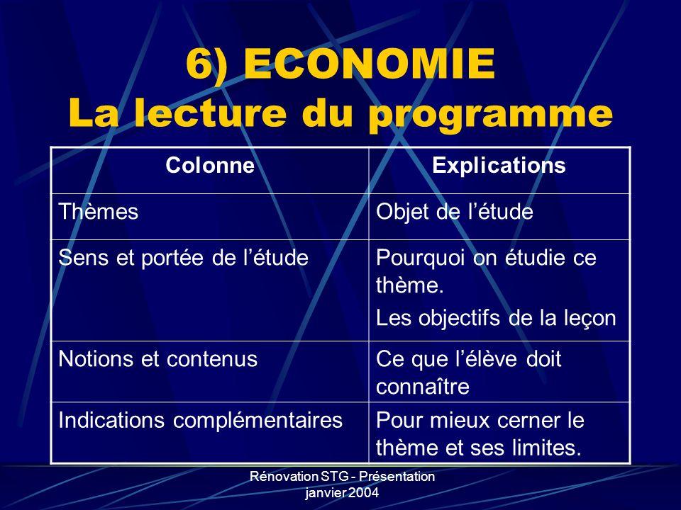 Rénovation STG - Présentation janvier 2004 6) ECONOMIE La lecture du programme ColonneExplications ThèmesObjet de létude Sens et portée de létudePourq