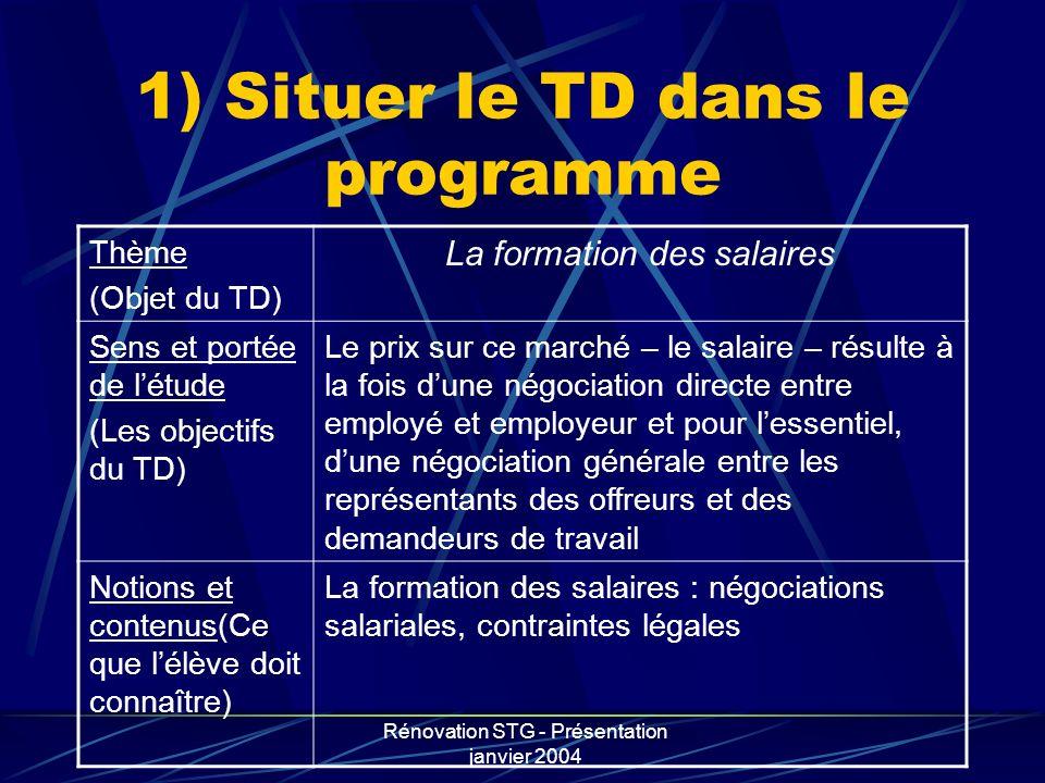 Rénovation STG - Présentation janvier 2004 1) Situer le TD dans le programme Thème (Objet du TD) La formation des salaires Sens et portée de létude (L
