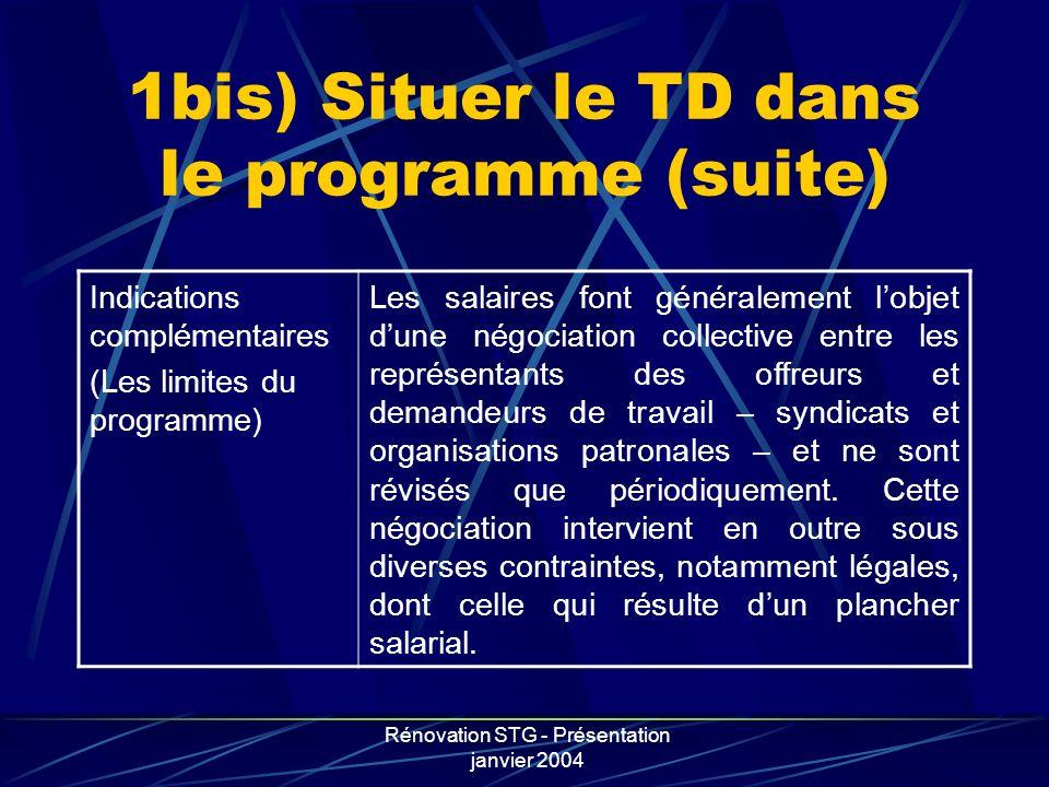 Rénovation STG - Présentation janvier 2004 1bis) Situer le TD dans le programme (suite) Indications complémentaires (Les limites du programme) Les sal