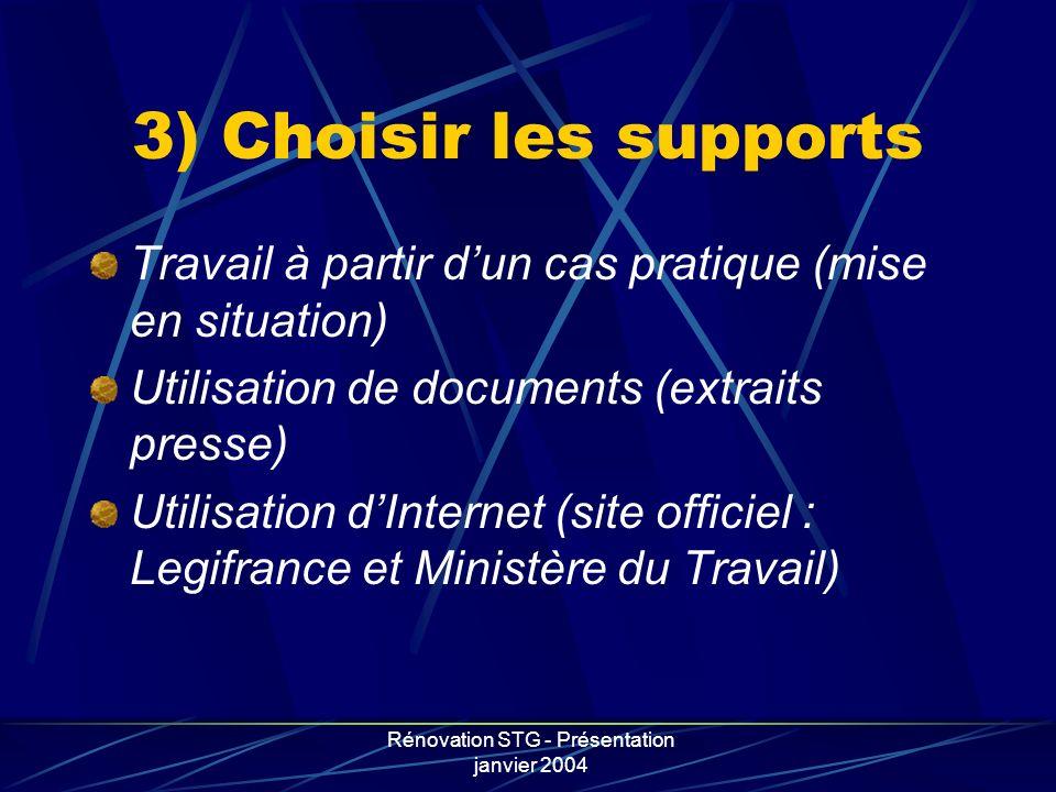 Rénovation STG - Présentation janvier 2004 3) Choisir les supports Travail à partir dun cas pratique (mise en situation) Utilisation de documents (ext
