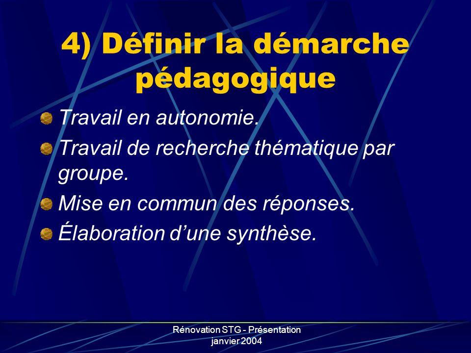 Rénovation STG - Présentation janvier 2004 4) Définir la démarche pédagogique Travail en autonomie. Travail de recherche thématique par groupe. Mise e