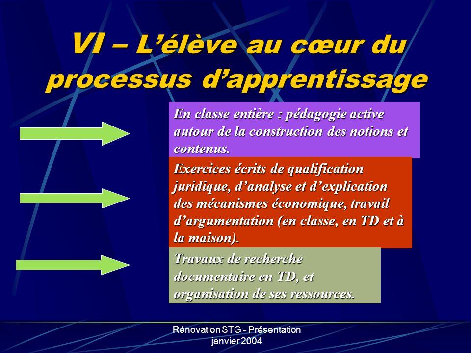 Rénovation STG - Présentation janvier 2004 VI – Lélève au cœur du processus dapprentissage En classe entière : pédagogie active autour de la construct