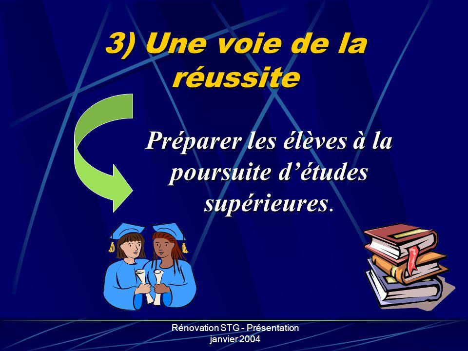 Rénovation STG - Présentation janvier 2004 3) Une voie de la réussite Préparer les élèves à la poursuite détudes supérieures Préparer les élèves à la