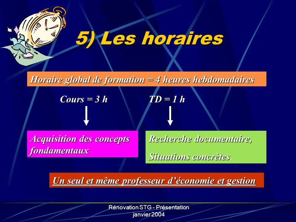 Rénovation STG - Présentation janvier 2004 5) Les horaires Horaire global de formation = 4 heures hebdomadaires Cours = 3 h TD = 1 h Acquisition des c