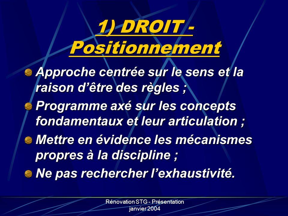 Rénovation STG - Présentation janvier 2004 1) DROIT - Positionnement Approche centrée sur le sens et la raison dêtre des règles ; Programme axé sur le