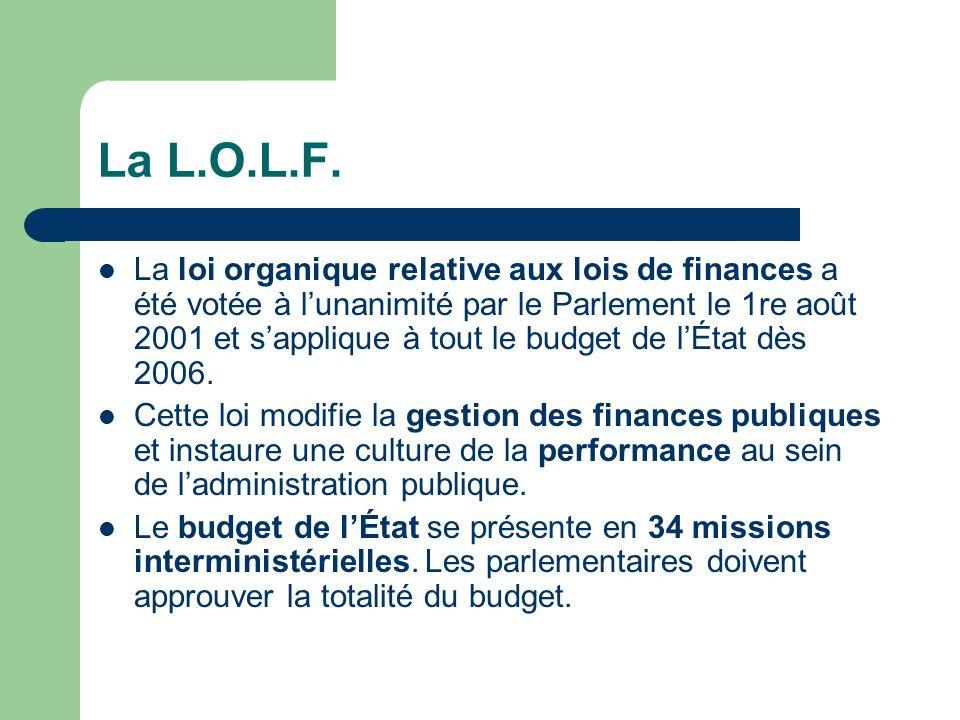 La L.O.L.F. La loi organique relative aux lois de finances a été votée à lunanimité par le Parlement le 1re août 2001 et sapplique à tout le budget de