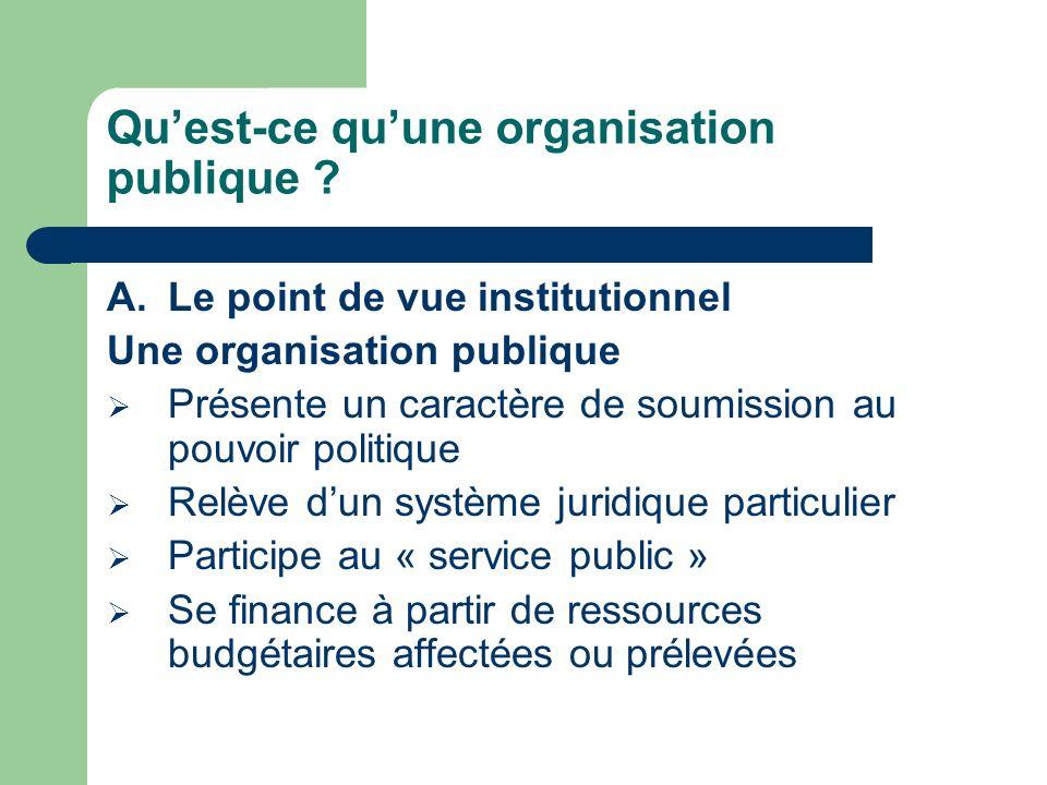 Quest-ce quune organisation publique ? A.Le point de vue institutionnel Une organisation publique Présente un caractère de soumission au pouvoir polit