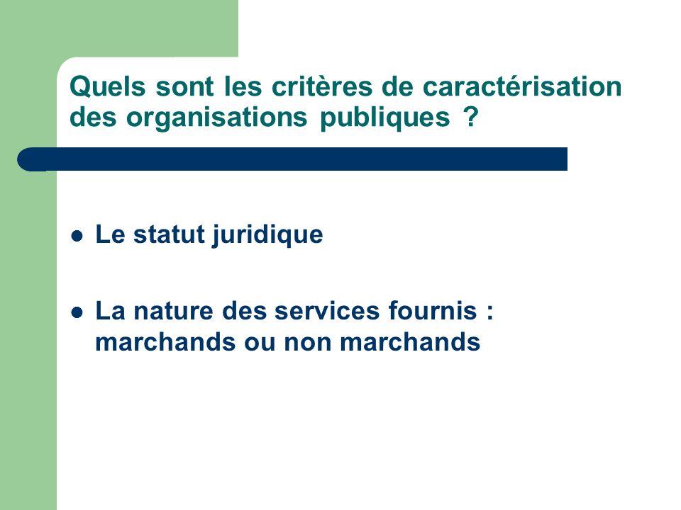 Quels sont les critères de caractérisation des organisations publiques ? Le statut juridique La nature des services fournis : marchands ou non marchan