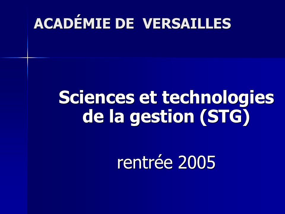STG : un état des lieux Mise en place de la série STG : un état des lieux 1) Plus de 17500 élèves inscrits en Première ou en Terminale technologique tertiaire dans lacadémie de Versailles en 2003, 2) Près de dix mille candidats en 2004 pour lacadémie de Versailles, soit 65 % des candidats au baccalauréat technologique.