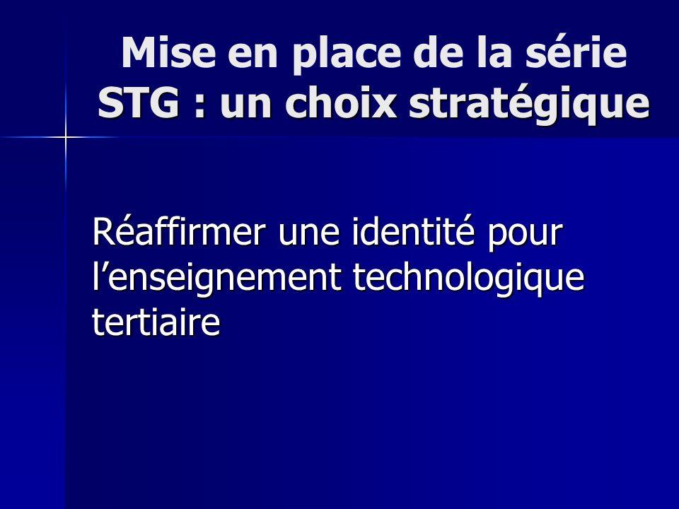 STG : un choix stratégique Mise en place de la série STG : un choix stratégique Réaffirmer une identité pour lenseignement technologique tertiaire
