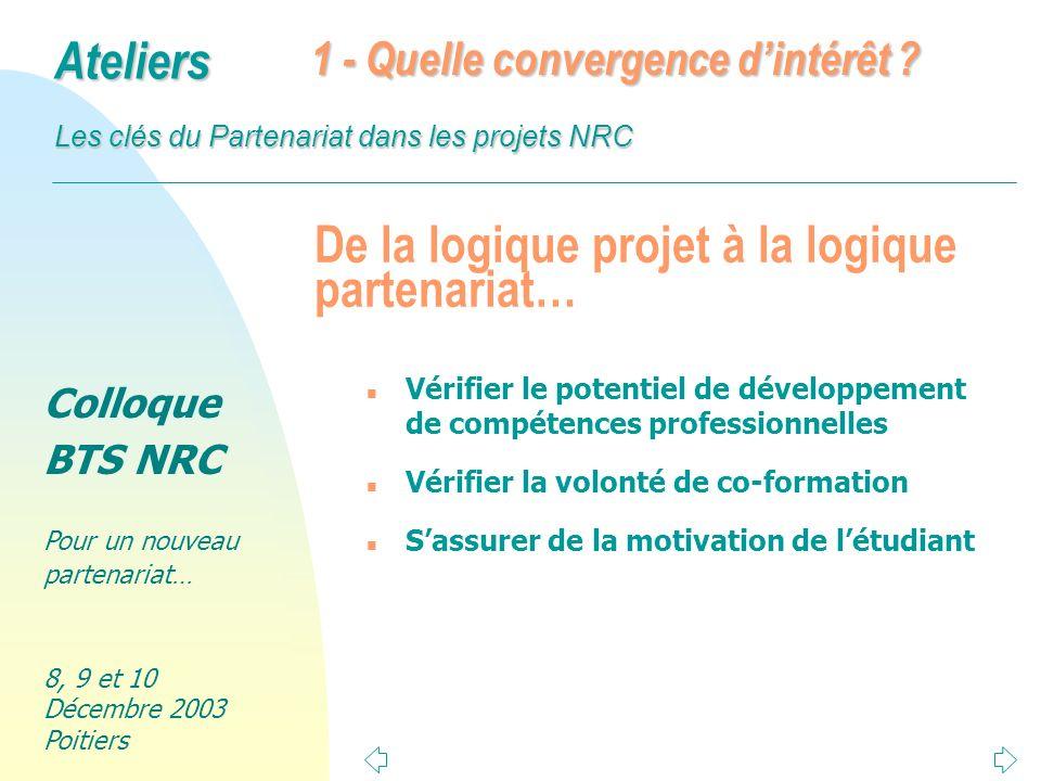 Colloque BTS NRC Pour un nouveau partenariat… 8, 9 et 10 Décembre 2003 Poitiers Ateliers Les clés du Partenariat dans les projets NRC Articulation enseignements / projet n Une progression des enseignements parallèle à la progression du projet n Quel degré dindividualisation des enseignements .