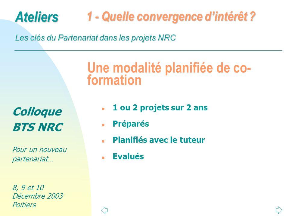 Colloque BTS NRC Pour un nouveau partenariat… 8, 9 et 10 Décembre 2003 Poitiers Ateliers Les clés du Partenariat dans les projets NRC Une modalité planifiée de co- formation n 1 ou 2 projets sur 2 ans n Préparés n Planifiés avec le tuteur n Evalués 1 - Quelle convergence dintérêt ?