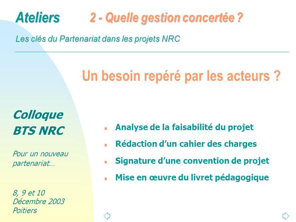 Colloque BTS NRC Pour un nouveau partenariat… 8, 9 et 10 Décembre 2003 Poitiers Ateliers Les clés du Partenariat dans les projets NRC Conclusion 2 n Progressivité dans la pratique pédagogique.