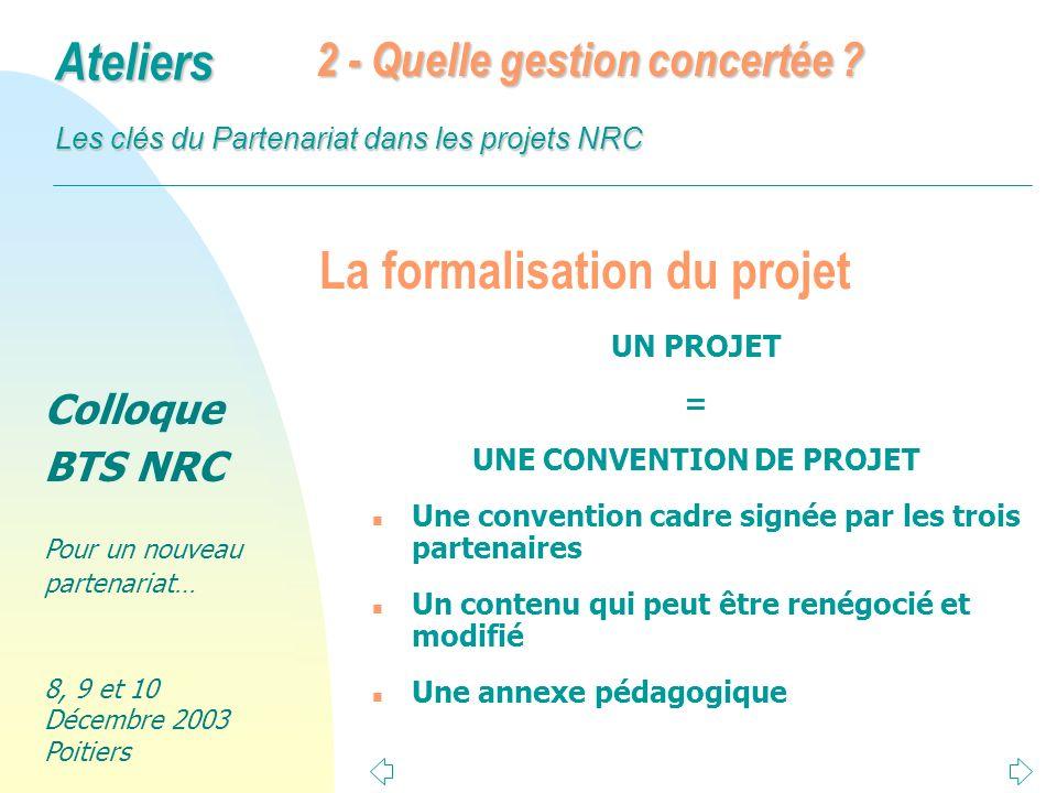 Colloque BTS NRC Pour un nouveau partenariat… 8, 9 et 10 Décembre 2003 Poitiers Ateliers Les clés du Partenariat dans les projets NRC 2 existants incontestés n Une responsabilité partagée n La notion de tutorat est pratiquée en entreprise 4 - Quelle responsabilité pédagogique ?