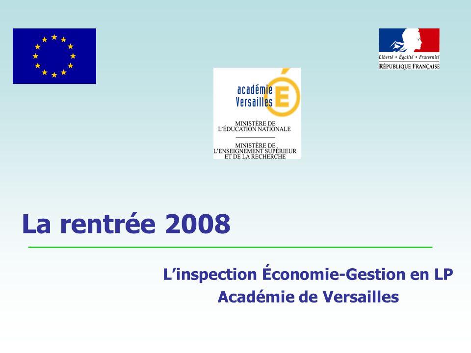 La rentrée 2008 Linspection Économie-Gestion en LP Académie de Versailles