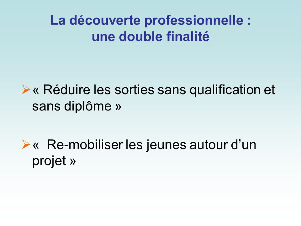 La découverte professionnelle : une double finalité « Réduire les sorties sans qualification et sans diplôme » « Re-mobiliser les jeunes autour dun pr