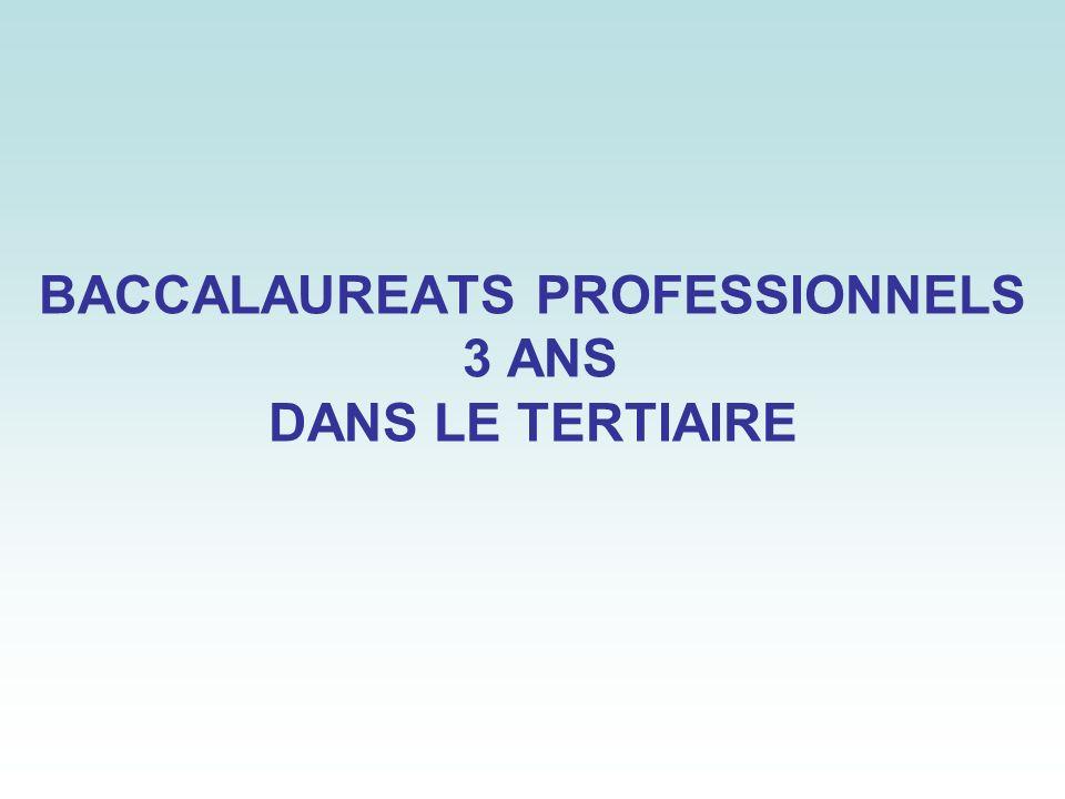 BACCALAUREATS PROFESSIONNELS 3 ANS DANS LE TERTIAIRE