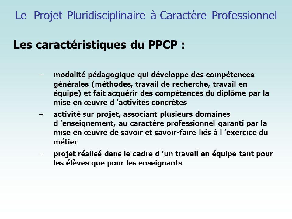 Le Projet Pluridisciplinaire à Caractère Professionnel Les caractéristiques du PPCP : –modalité pédagogique qui développe des compétences générales (m