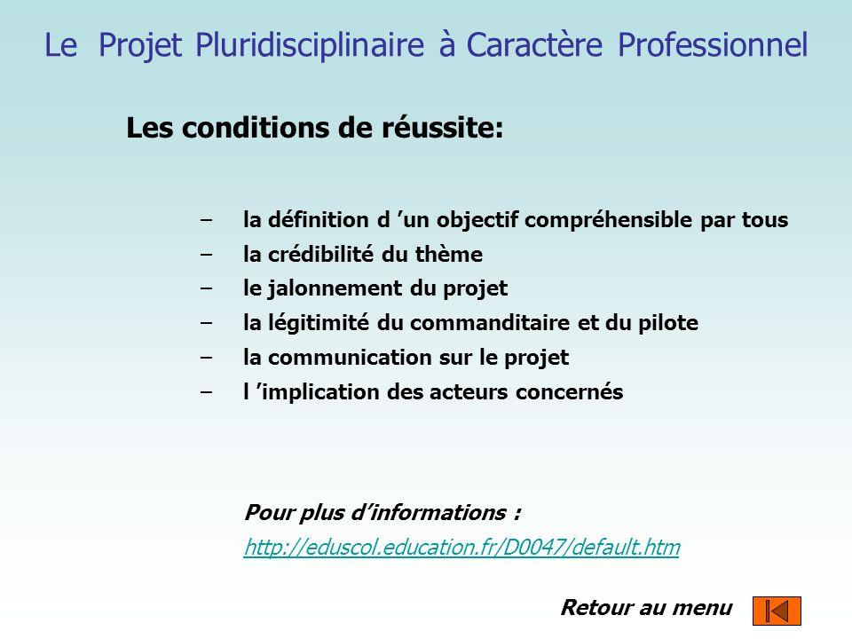 Le Projet Pluridisciplinaire à Caractère Professionnel Les conditions de réussite: –la définition d un objectif compréhensible par tous –la crédibilit