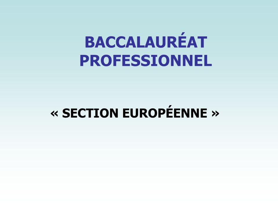 BACCALAURÉAT PROFESSIONNEL « SECTION EUROPÉENNE »