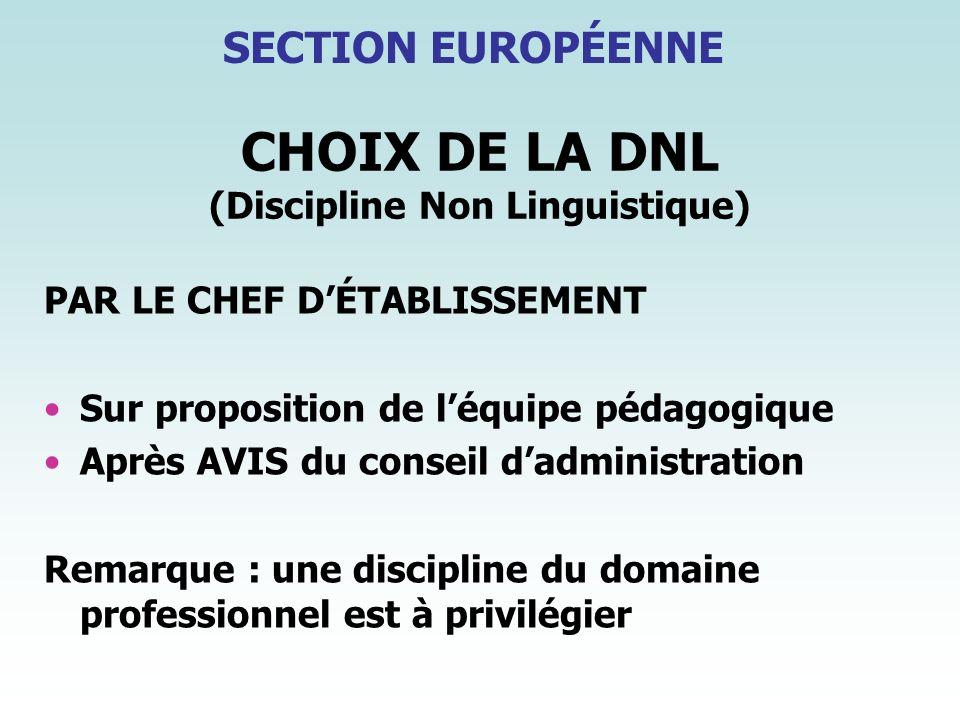 CHOIX DE LA DNL (Discipline Non Linguistique) PAR LE CHEF DÉTABLISSEMENT Sur proposition de léquipe pédagogique Après AVIS du conseil dadministration