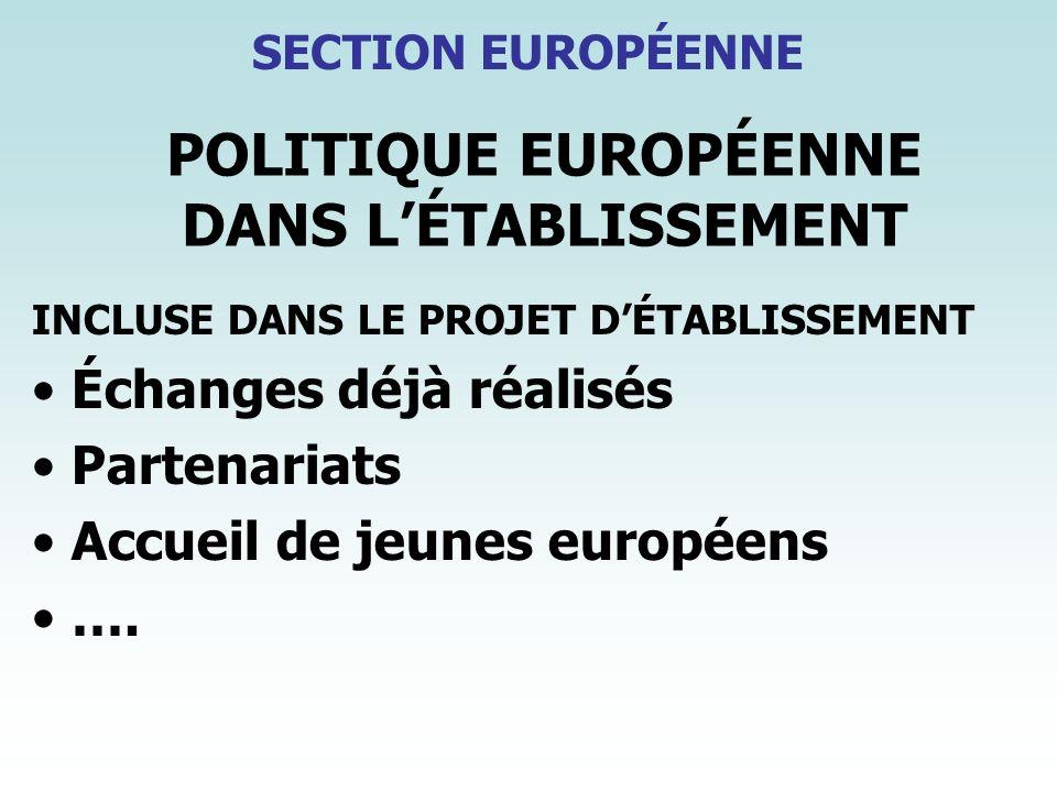 POLITIQUE EUROPÉENNE DANS LÉTABLISSEMENT INCLUSE DANS LE PROJET DÉTABLISSEMENT Échanges déjà réalisés Partenariats Accueil de jeunes européens …. SECT