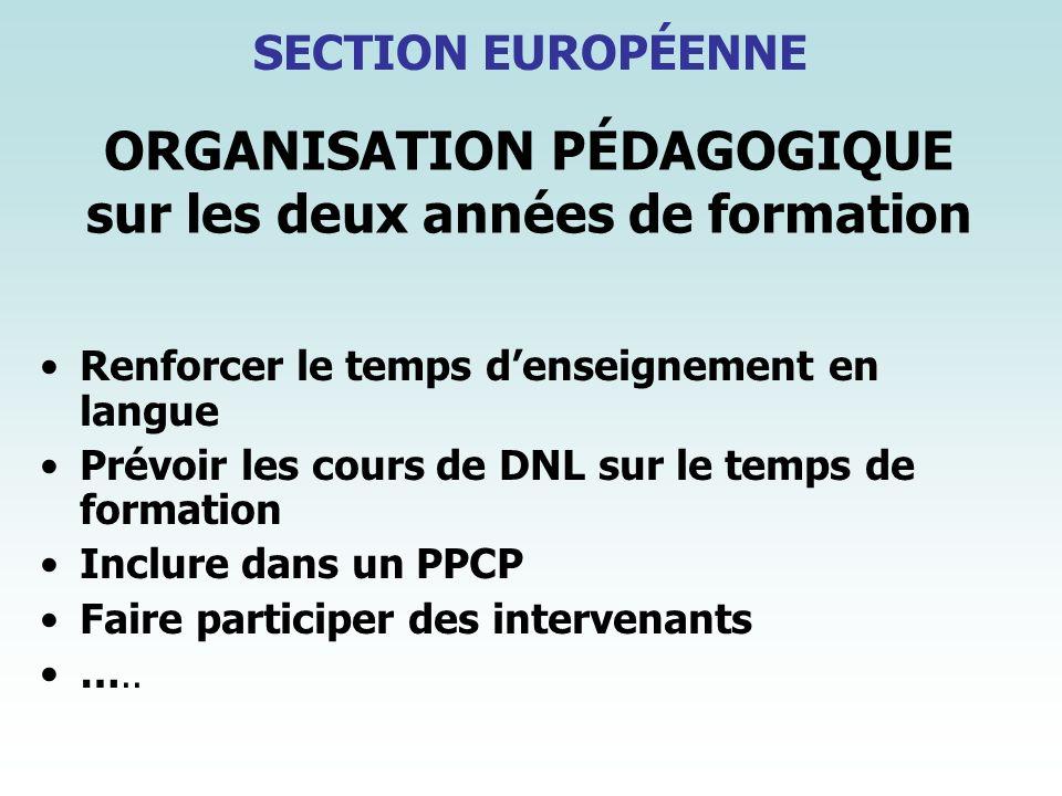 ORGANISATION PÉDAGOGIQUE sur les deux années de formation Renforcer le temps denseignement en langue Prévoir les cours de DNL sur le temps de formatio
