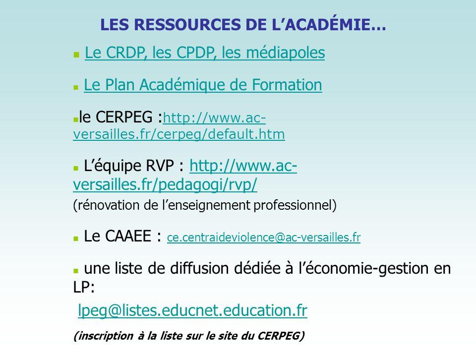 LES RESSOURCES DE LACADÉMIE… Le CRDP, les CPDP, les médiapoles Le Plan Académique de Formation le CERPEG : http://www.ac- versailles.fr/cerpeg/default
