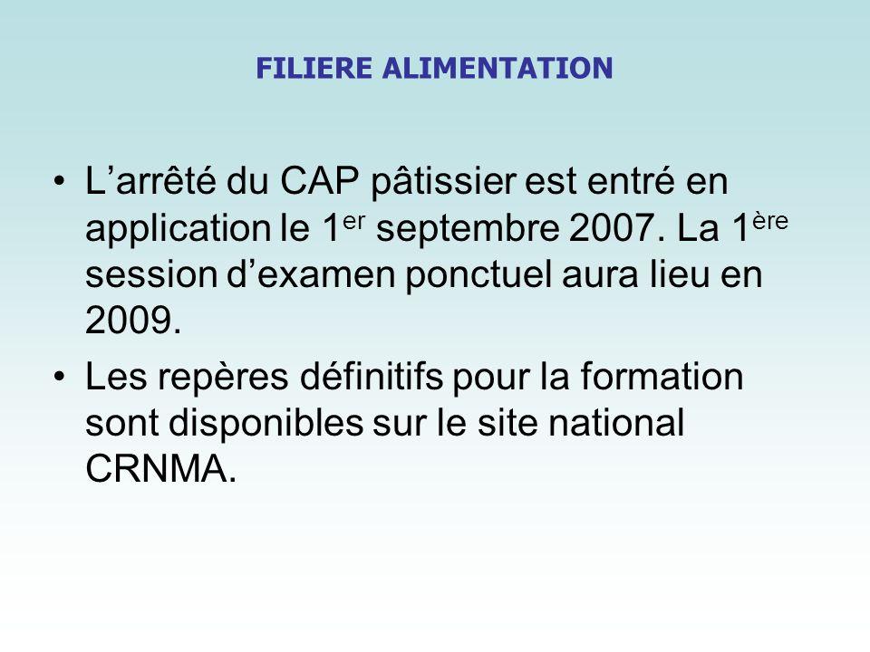 FILIERE ALIMENTATION Larrêté du CAP pâtissier est entré en application le 1 er septembre 2007. La 1 ère session dexamen ponctuel aura lieu en 2009. Le