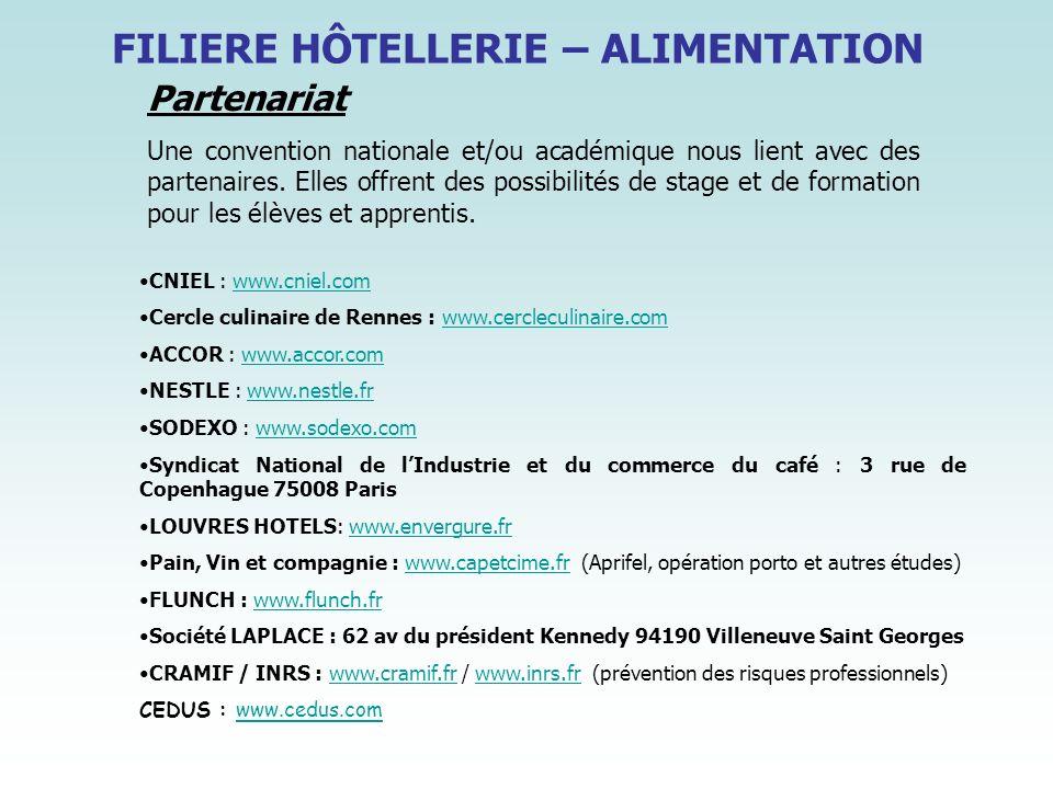 FILIERE HÔTELLERIE – ALIMENTATION Partenariat Une convention nationale et/ou académique nous lient avec des partenaires. Elles offrent des possibilité