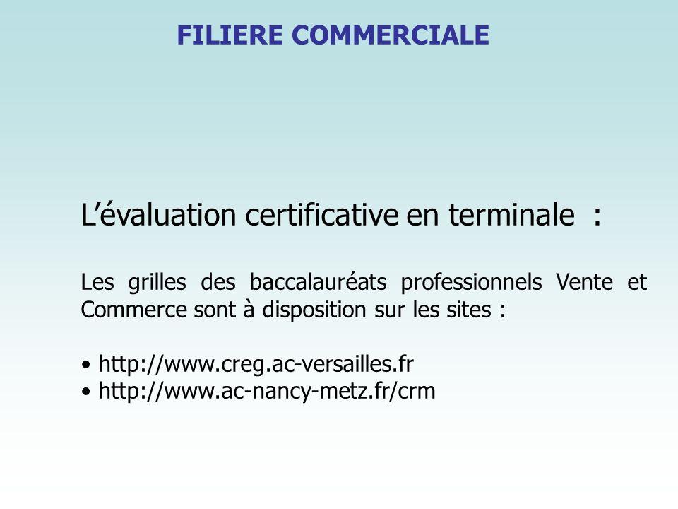 FILIERE COMMERCIALE Lévaluation certificative en terminale : Les grilles des baccalauréats professionnels Vente et Commerce sont à disposition sur les