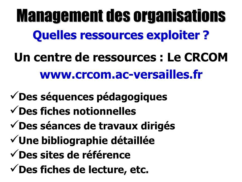 Management des organisations Quelles ressources exploiter ? Des séquences pédagogiques Des fiches notionnelles Des séances de travaux dirigés Une bibl