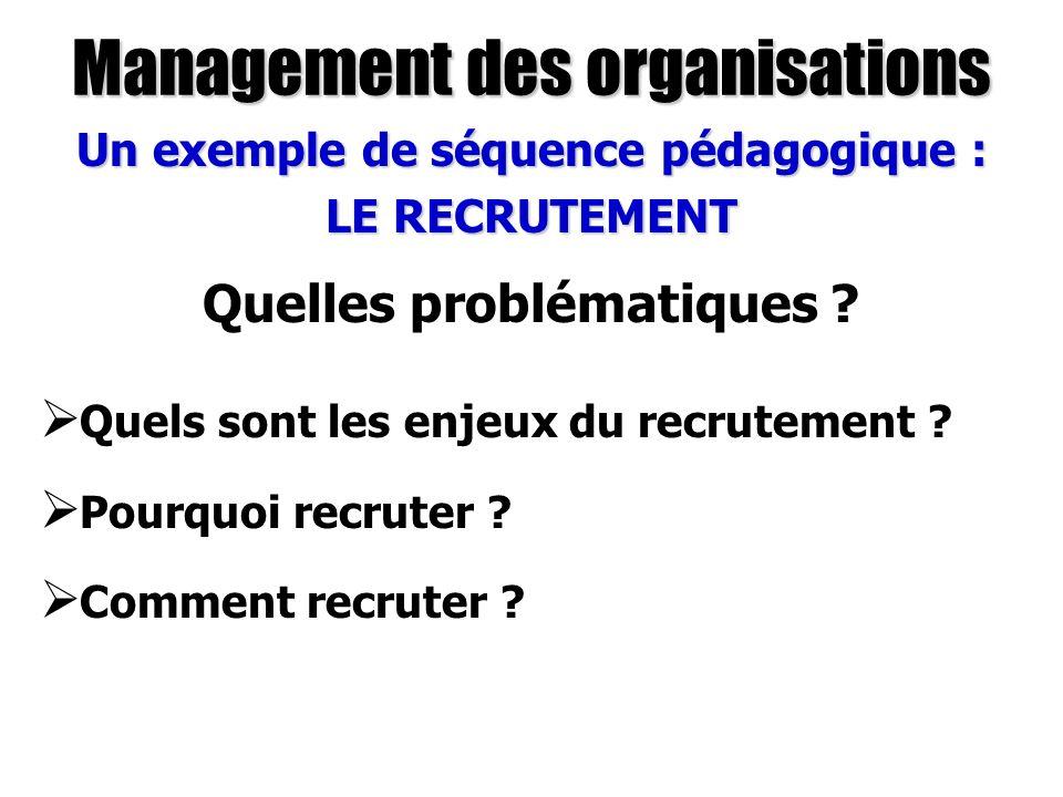 Management des organisations Un exemple de séquence pédagogique : LE RECRUTEMENT Quels sont les enjeux du recrutement ? Pourquoi recruter ? Comment re