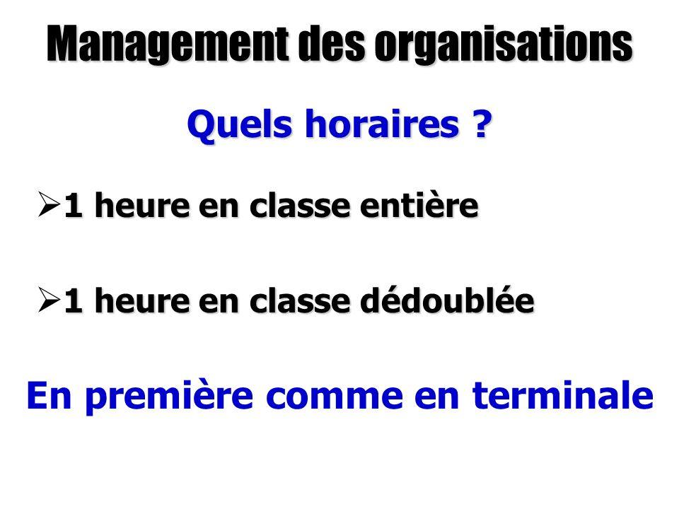 Management des organisations Quels horaires ? 1 heure en classe entière 1 heure en classe entière 1 heure en classe dédoublée 1 heure en classe dédoub